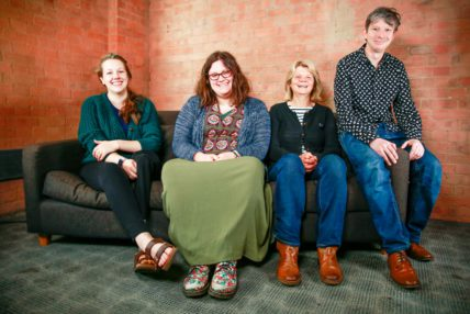 Image of Write to Play year 3 writers sitting on the sofa