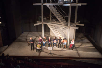 Birds eye view of cast on stage from Sphinx Festival