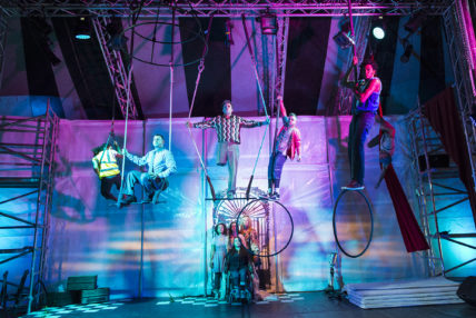 Image of 5 performers using circus equipment