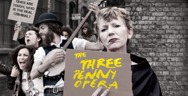 Image of woman holding placard saying 'The Threepenny Opera'