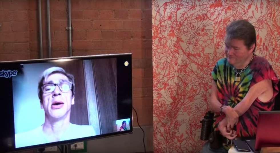 JK talking to Mat Fraser via Skype