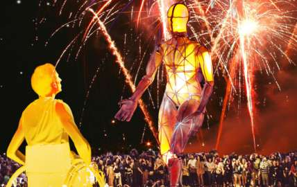 A giant puppet with pyrotechnics