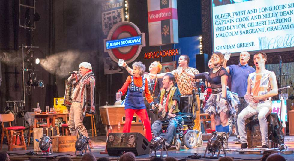 Reasons to be Cheerful cast singing onstage