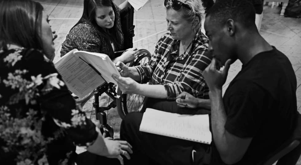 Blood Wedding cast members in rehearsals with Jenny Sealey