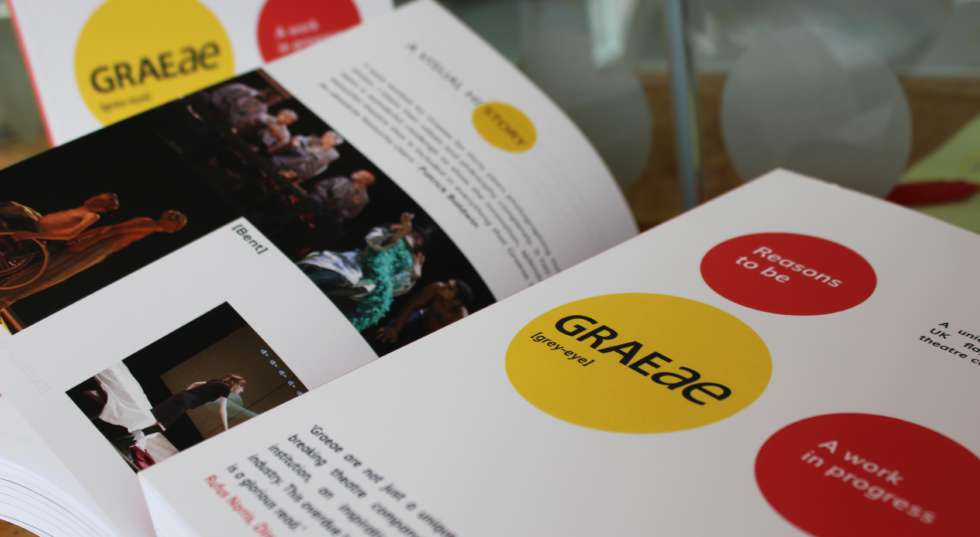 "A close up of the Graeae Book ""Reasons to be Graeae"""