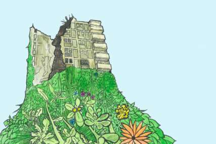 An drawing of a tumbledown building with plants growing verdantly beneath it.