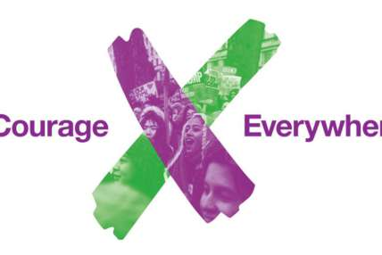 Courage Everywhere. A graphic shows a green and purple vote cross, made up as a collage of womens faces.