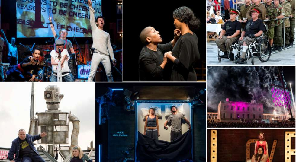 A photo montage showing stills from various Graeae productions