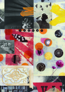 The artist has divided the page into squares and rectangles to create this collage piece. It is made up of black and white photos, paper and paint. The colours used are pink, orange and cream. The photos are of a motorbike, flowers, books, a telephone dial and a cat. The artist has also used fragments of Braille symbols. White type in small black circles, spells out the word change across the middle of the piece.
