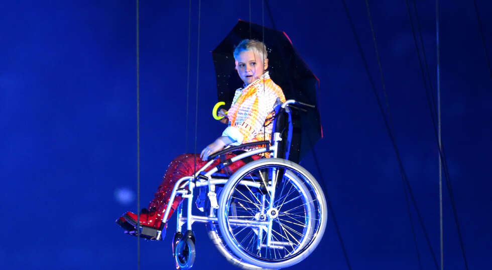 A photo of Nickie Miles-Wildin as Miranda, in the London 2012 Paralympic Games Opening Ceremony