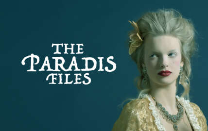 A graphic showing a woman in renaissance costume, against a teal background. Text next to her reads The Paradis Files
