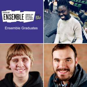 Image of Graeae's Ensemble logo with three headshots including Ensemble Graduates, Awa Jagne (top right), Vanessa Smith (bottom left) & Josh King (bottom right)