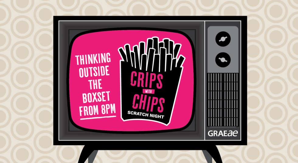 Pink screen on a black TV reads thinking outside the boxset from 8pm with a packet of chips to the side that reads Crips with Chips on the packet