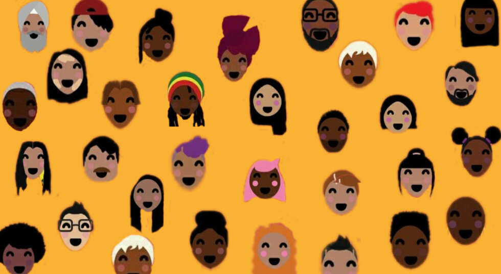 Yellow background with a mixture of cartoon looking faces